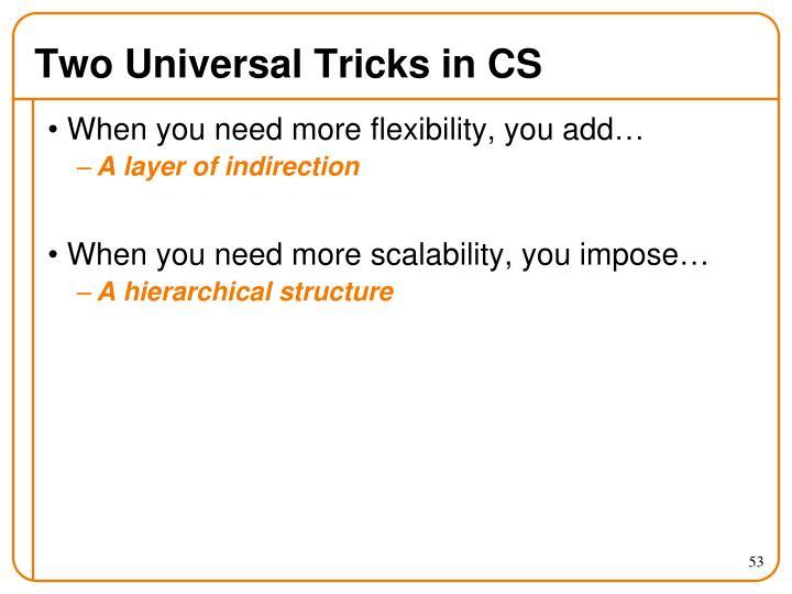 Two Universal Tricks in CS