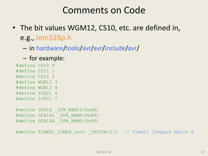 Comments on Code