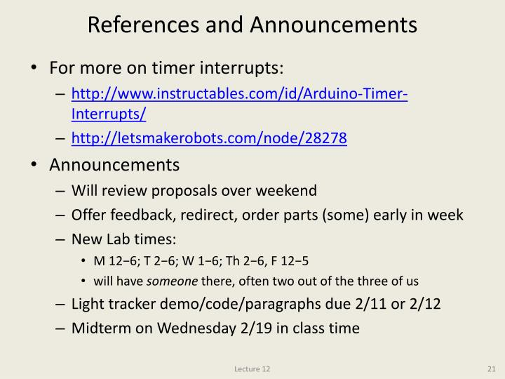 References and Announcements
