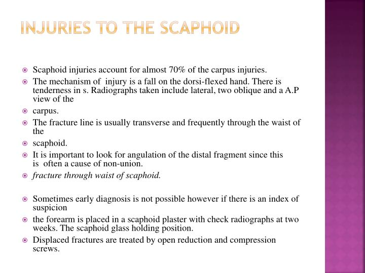 INJURIES TO THE SCAPHOID