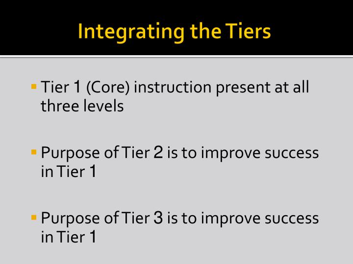 Integrating the Tiers