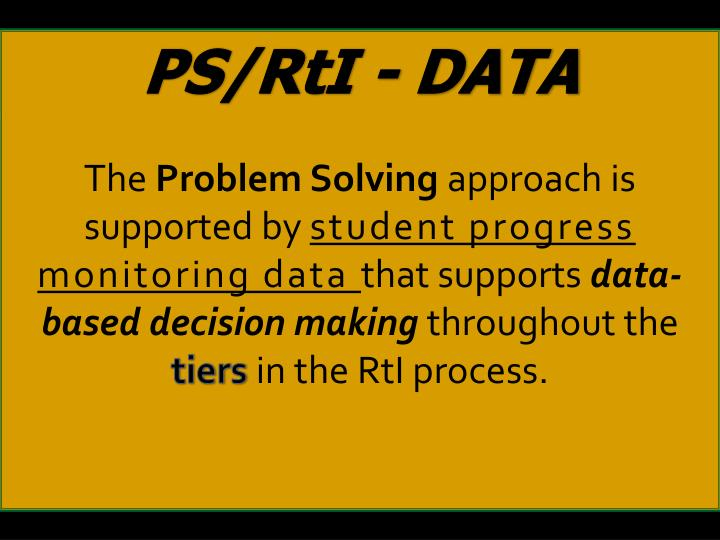 PS/RtI - DATA