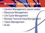 business systems tool kit