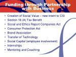 funding through partnership with business