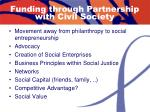 funding through partnership with civil society
