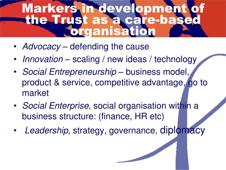 Markers in development of the Trust as a care-based