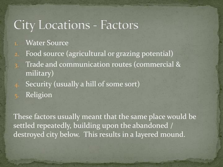 City Locations - Factors