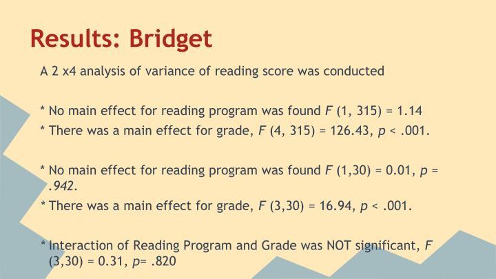 Results: Bridget