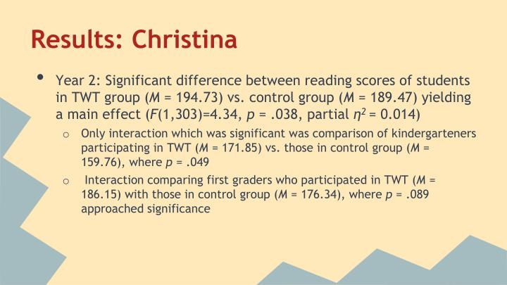 Results: Christina