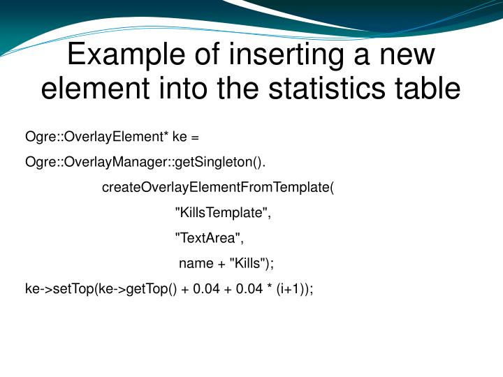 Example of inserting a new element into the statistics table