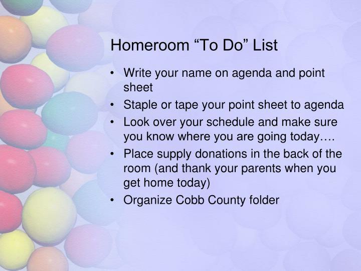 """Homeroom """"To Do"""" List"""