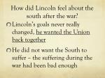 how did lincoln feel about the south after the war