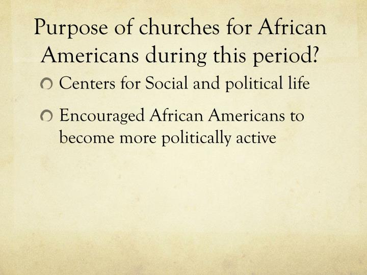 Purpose of churches for African Americans during this period?