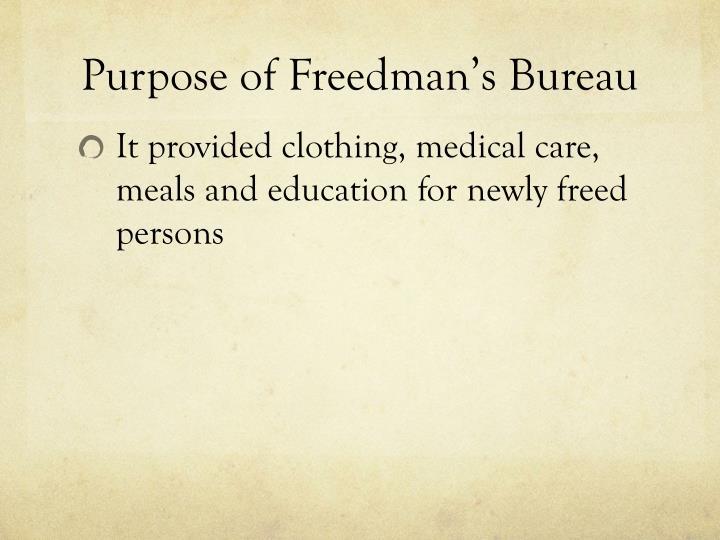 Purpose of Freedman's Bureau