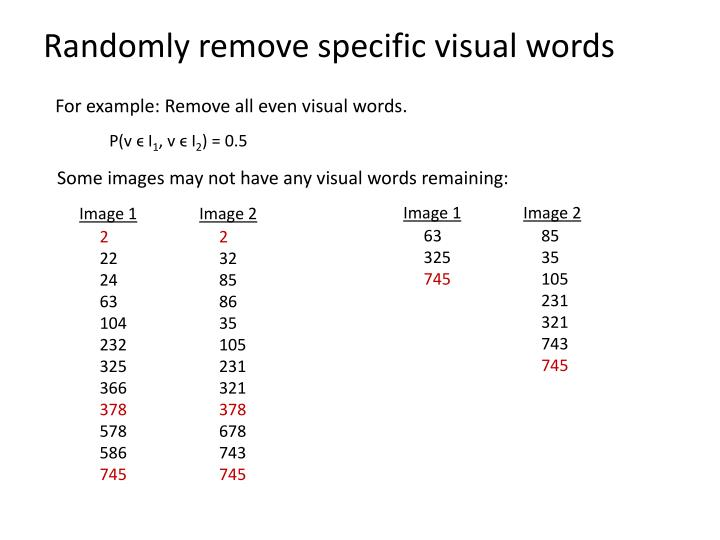 Randomly remove specific visual words