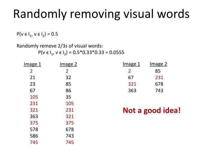 Randomly removing visual words