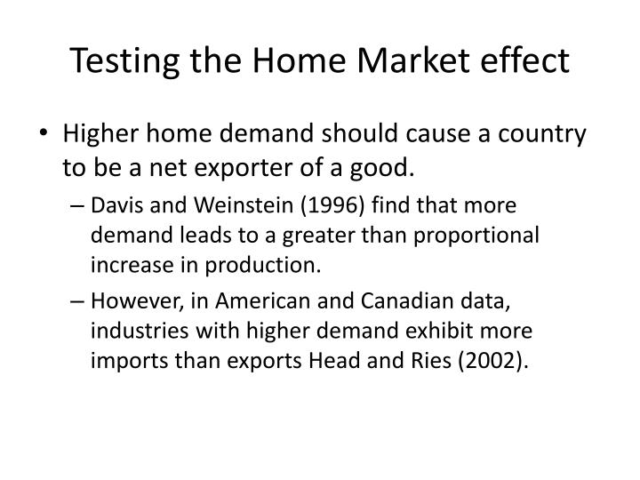 Testing the Home Market effect