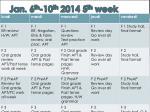 jan 6 th 10 th 2014 5 th week