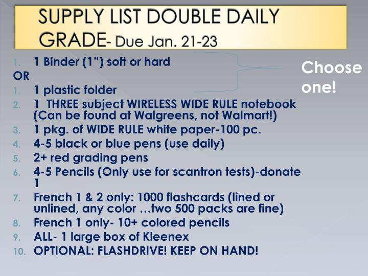 SUPPLY LIST DOUBLE DAILY GRADE