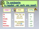 to conjugate a regular er verb you need