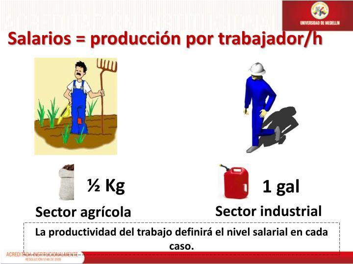 Salarios = producción por trabajador/h