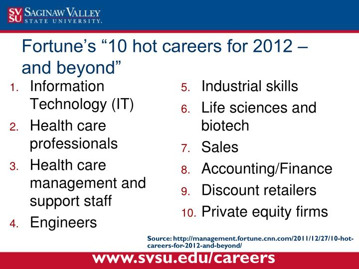 "Fortune's ""10 hot careers for 2012 – and beyond"""