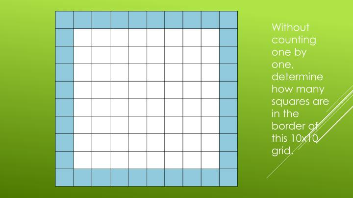 Without counting one by one, determine how many squares are in the border of this 10x10 grid.