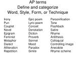 ap terms define and categorize word style form or technique