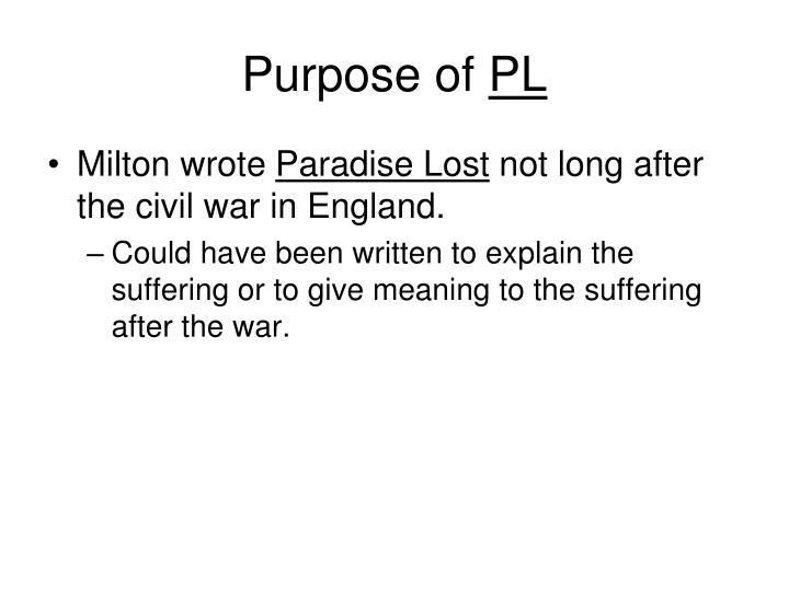 Purpose of