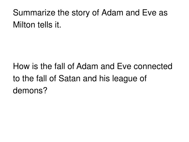 Summarize the story of Adam and Eve as