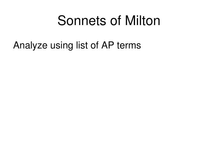 Sonnets of Milton