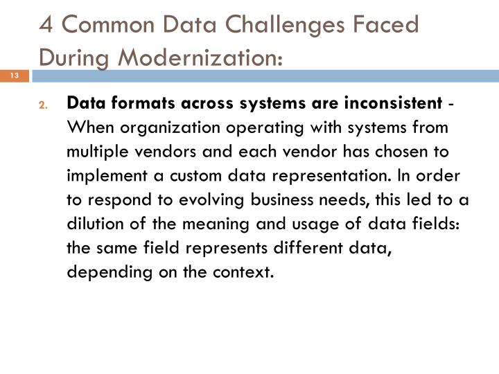 4 Common Data Challenges Faced During Modernization: