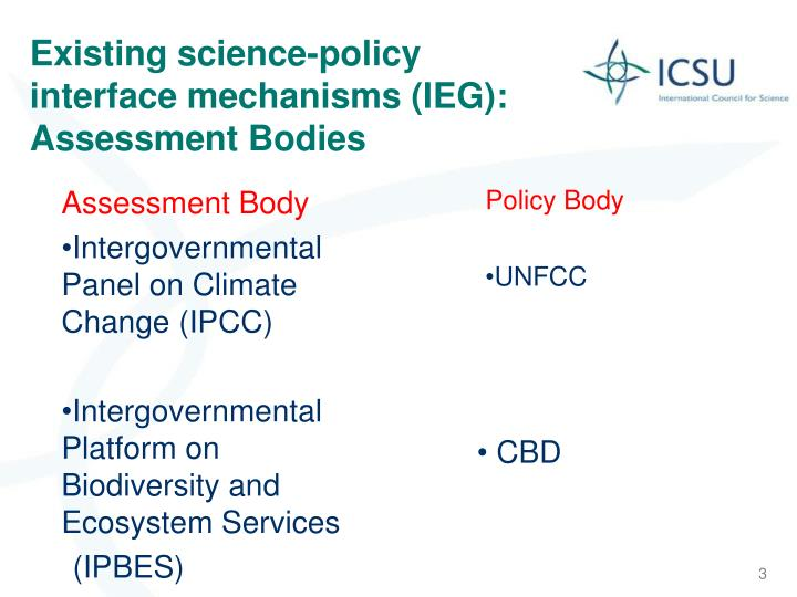 Existing science policy interface mechanisms ieg assessment bodies