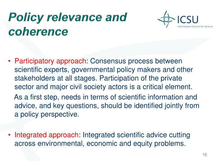 Policy relevance and coherence