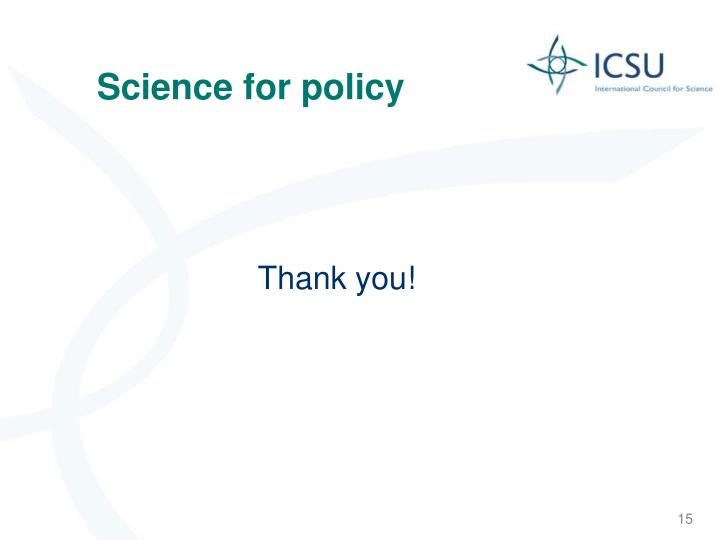 Science for policy