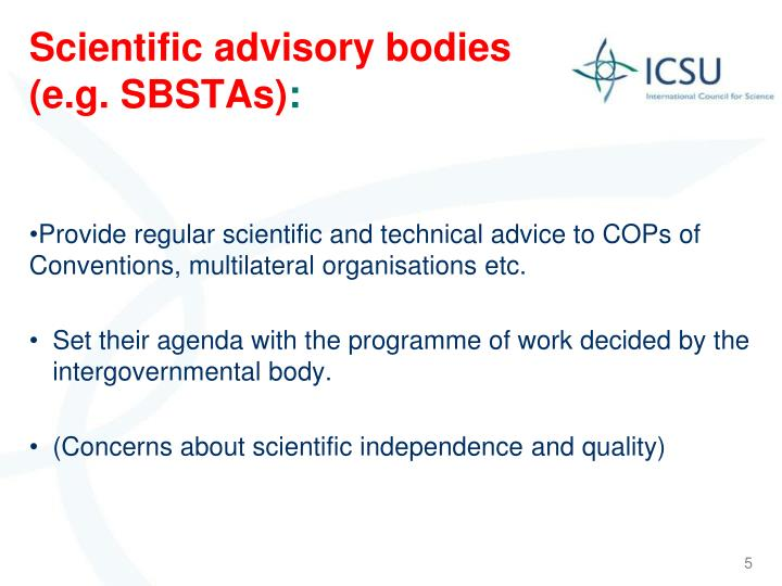 Scientific advisory bodies (e.g. SBSTAs)