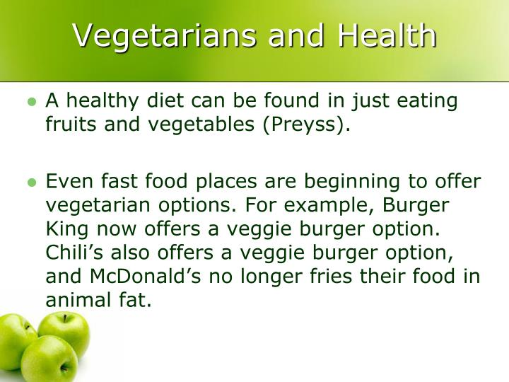 Vegetarians and Health