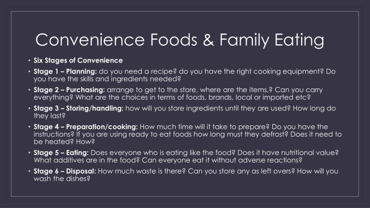 Convenience Foods & Family Eating