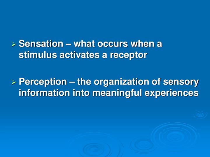 Sensation – what occurs when a stimulus activates a receptor