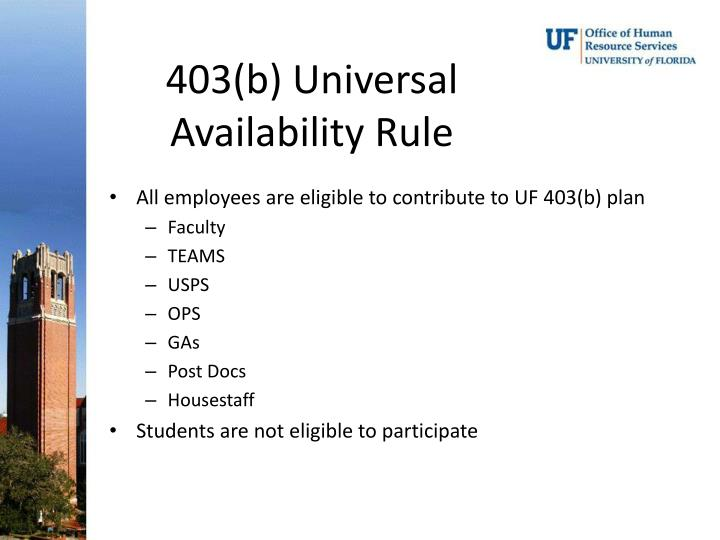 403(b) Universal Availability Rule