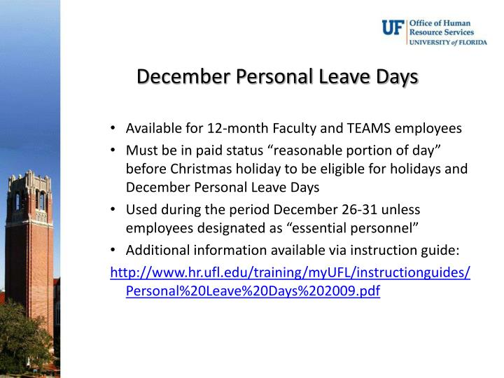 December Personal Leave Days