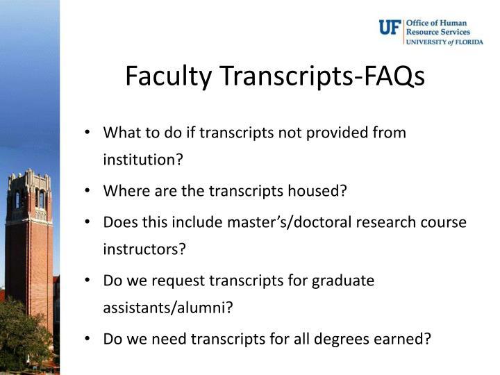 Faculty Transcripts-FAQs