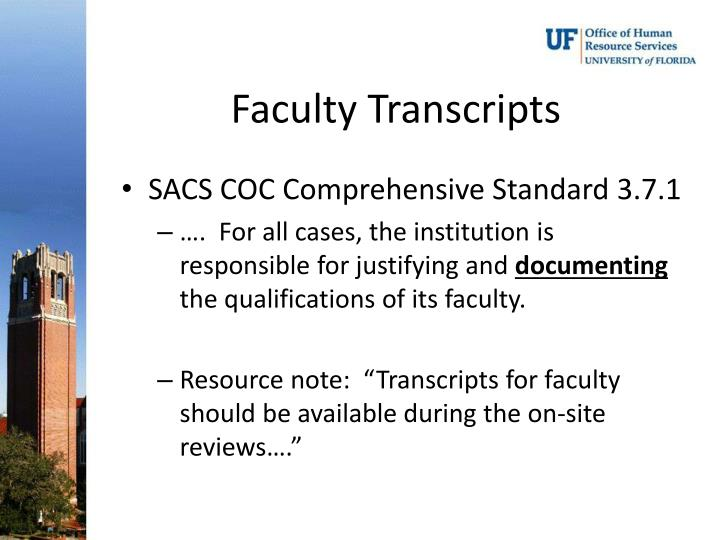 Faculty Transcripts