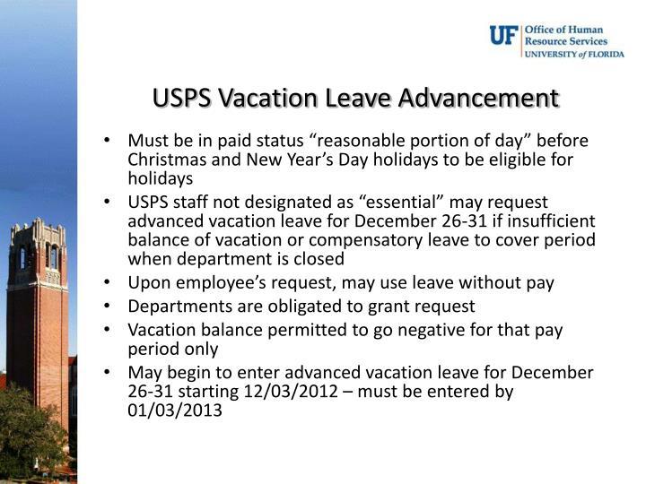 USPS Vacation Leave Advancement