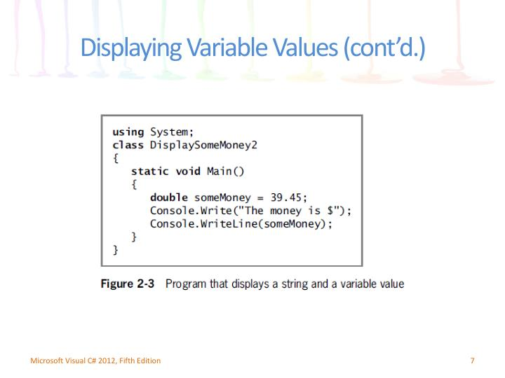 Displaying Variable Values (cont'd.)