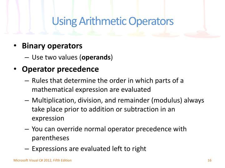 Binary operators