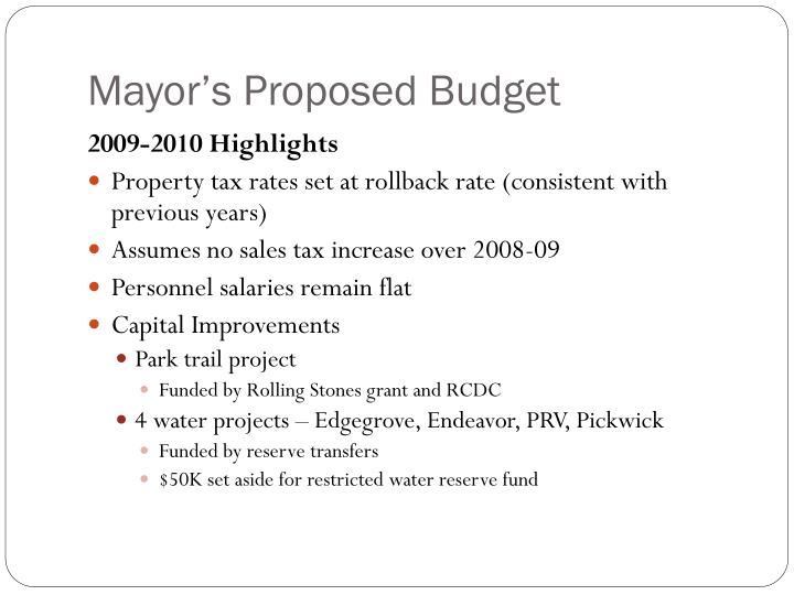 Mayor s proposed budget