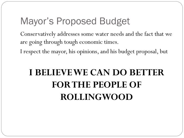 Mayor's Proposed Budget
