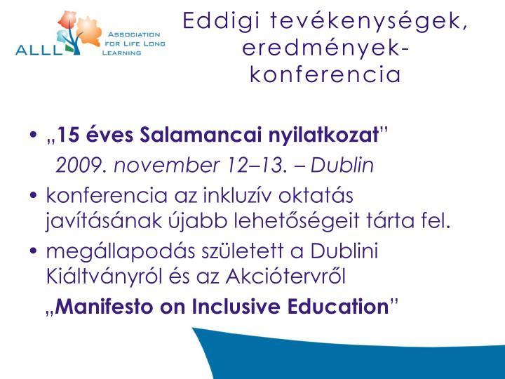Eddigi tevékenységek, eredmények- konferencia