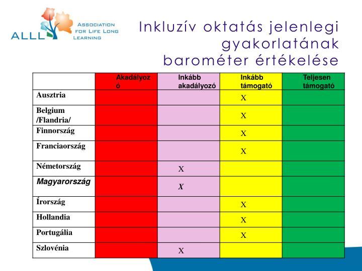 Inkluzív oktatás jelenlegi gyakorlatának  b